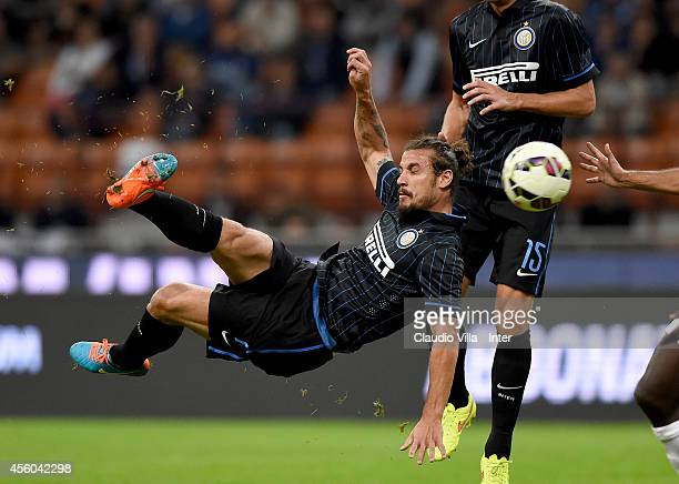 Pablo Daniel Osvaldo of FC Internazionale scores the first goal during the Serie A match between FC Internazionale Milano and Atalanta BC at Stadio...