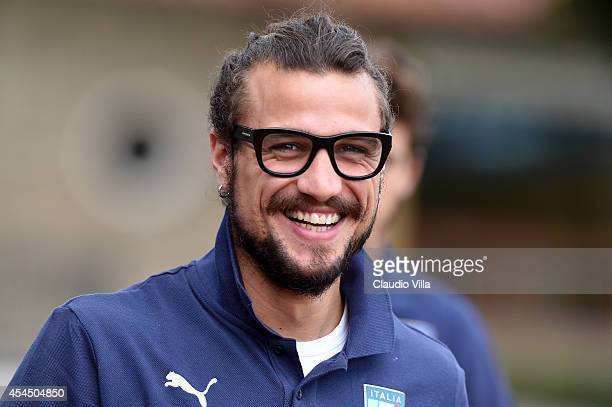 Pablo Daniel Osvaldo smiles prior to the Italy Training Session at Coverciano on September 2 2014 in Florence Italy