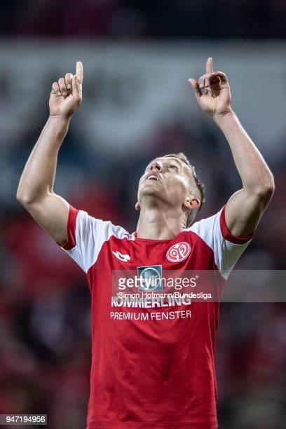 Pablo De Blasis of Mainz celebrates a goal during the Bundesliga match between 1 FSV Mainz 05 and SportClub Freiburg at Opel Arena on April 16 2018...