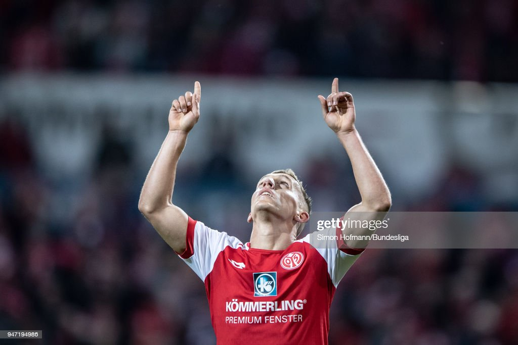 Pablo De Blasis of Mainz celebrates a goal during the Bundesliga match between 1. FSV Mainz 05 and Sport-Club Freiburg at Opel Arena on April 16, 2018 in Mainz, Germany.