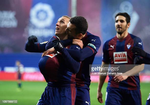 Pablo De Blasis of SD Eibar celebrates after scoring his team's second goal during the La Liga match between SD Eibar and RCD Espanyol at Ipurua...
