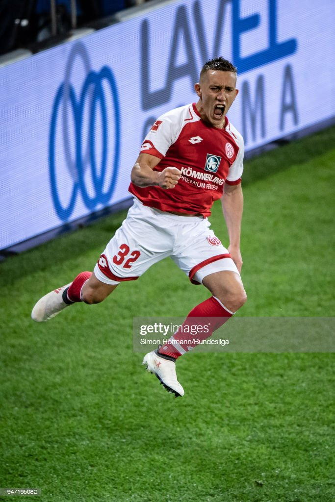 Pablo De Blasism celebrates a goal during the Bundesliga match between 1. FSV Mainz 05 and Sport-Club Freiburg at Opel Arena on April 16, 2018 in Mainz, Germany.