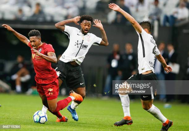 Pablo Dyego of Fluminense and Rene Junior of Corinthinas in action during the match between Corinthinas and Fluminense for the Brasileirao Series A...