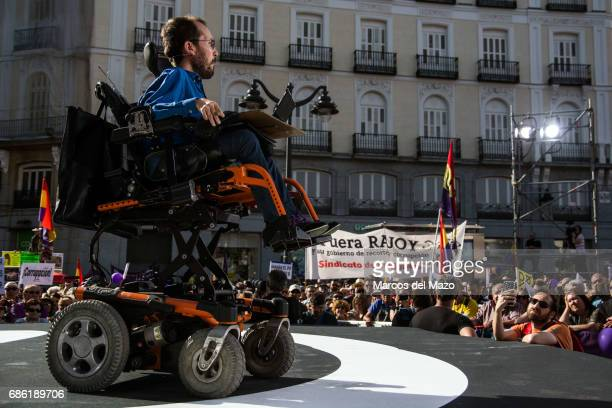 Pablo Echenique Secretary of Organization of Podemos during a demonstration supporting a vote of no confidence to President Mariano Rajoy
