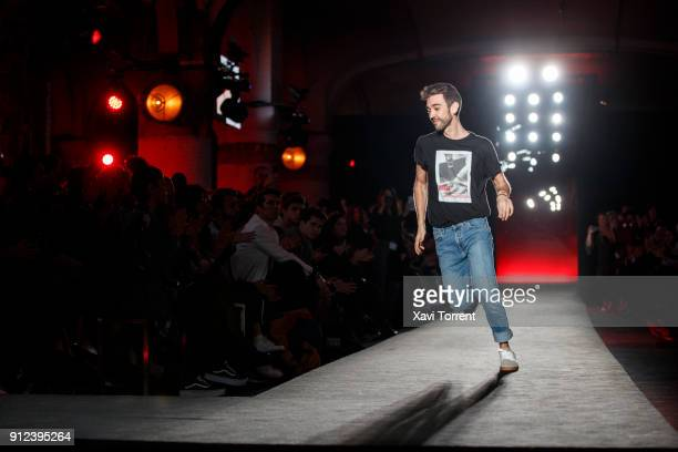 Pablo Erroz runs the runway at the Pablo Erroz show during the Barcelona 080 Fashion Week on January 30 2018 in Barcelona Spain