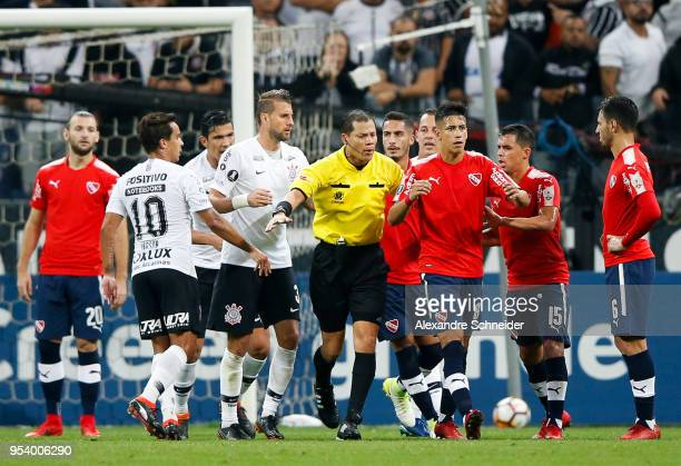 Pablo Escobar of Corinthians of Brazil and Xina of Independiente of Argentina in action during the match for the Copa CONMEBOL Libertadores 2018 at...