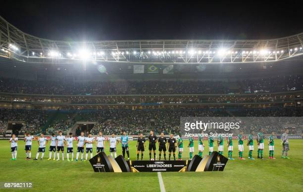 Pablo Escobar of Palmeiras of Brazil and Thiago Maia of Atletico Tucuman of Argentina in action during the match between Palmeiras and Atletico...