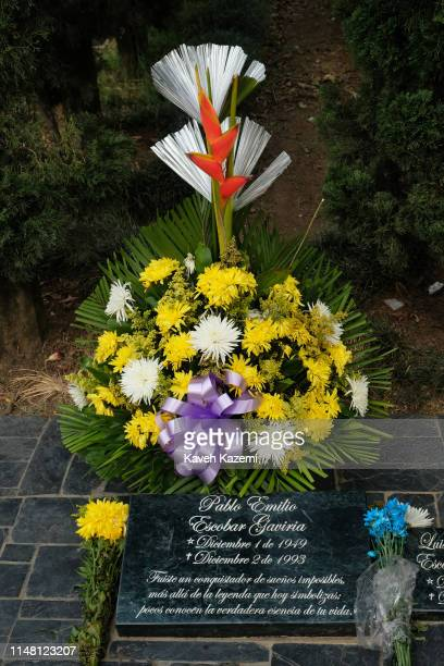 "Pablo Escobar""u2019s tomb seen with freshly laid flowers in Montesacro cemetery on February 13, 2019 in Medellin, Colombia. Pablo Escobar Gaviria..."