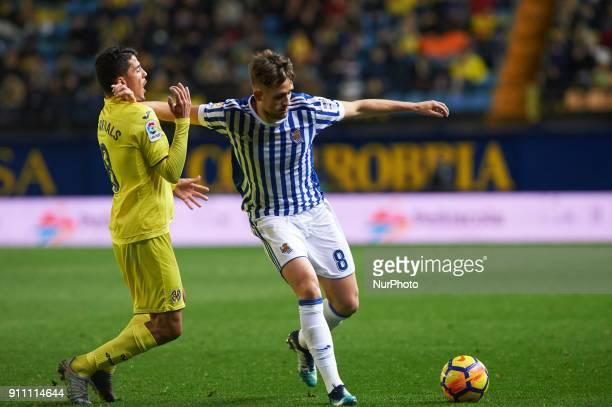 Pablo Fornals of Villarreal CF and Adam Januzaj of Real Sociedad during the La Liga match between Villarreal CF and Levante Union Deportiva at...