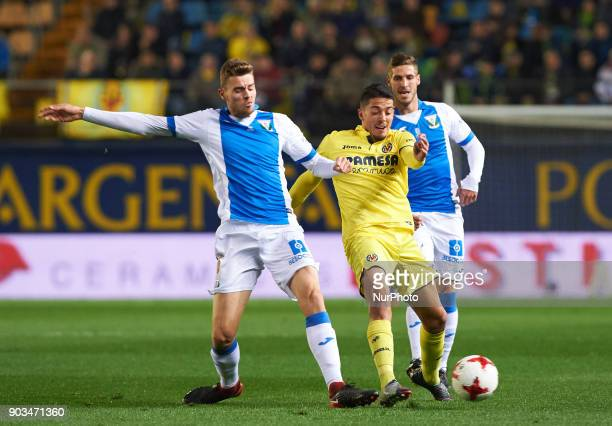 Pablo Fornals of Villarreal CF and Gerard Gumbau of Club Deportivo Leganes during the Spanish Copa del Rey Round of 16 match between Villarreal CF...