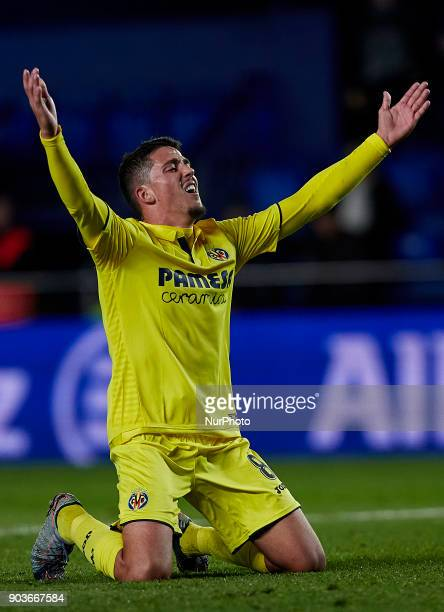 Pablo Fornals of Villarreal CF reacts during the Copa del Rey Round of 16 second leg game between Villarreal CF and CD Leganes on January 10 2018 in...