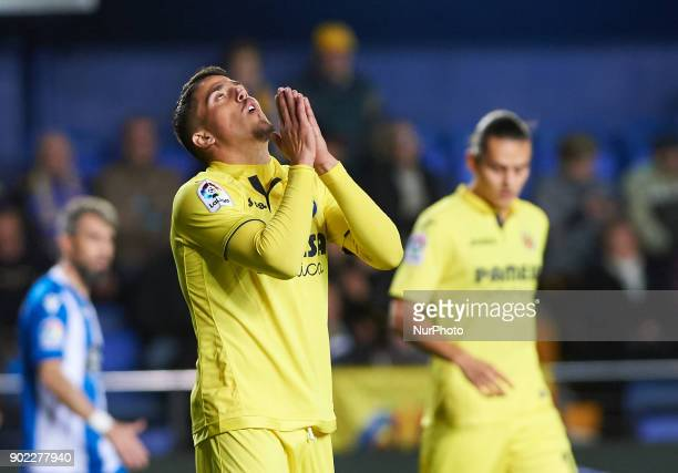 Pablo Fornals of Villarreal CF reacts during the La Liga match between Villarreal CF and Deportivo de la Coruna at Estadio de la Ceramica on jenuary...