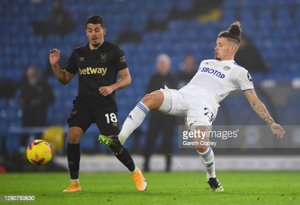 Pablo Fornals of West Ham United battles for possession with Kalvin Phillips of Leeds United during the Premier League match between Leeds United and...