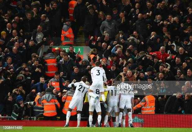 Pablo Fornals of West Ham United celebrates after scoring his sides second goal during the Premier League match between Liverpool FC and West Ham...