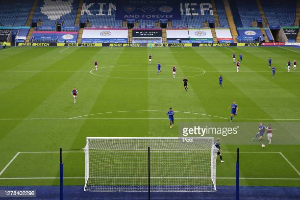 Pablo Fornals scores his sides second goal under pressure from Caglar Soyuncu of Leicester City during the Premier League match between Leicester...