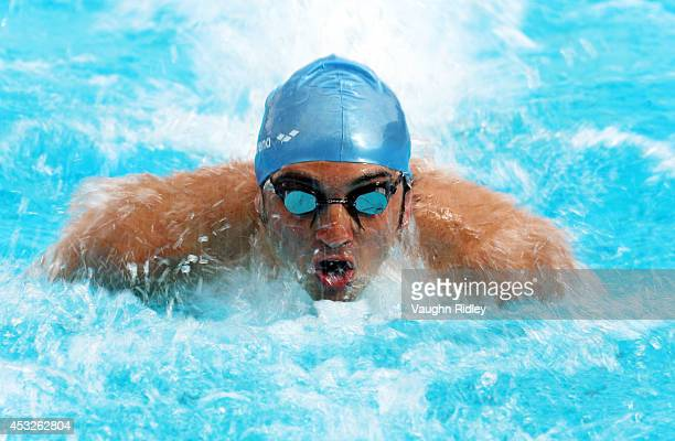 Pablo Gauna of Argentina competes in the Men's 100m Butterfly at Parc JeanDrapeau during the 15th FINA World Masters Championships on August 06 2014...