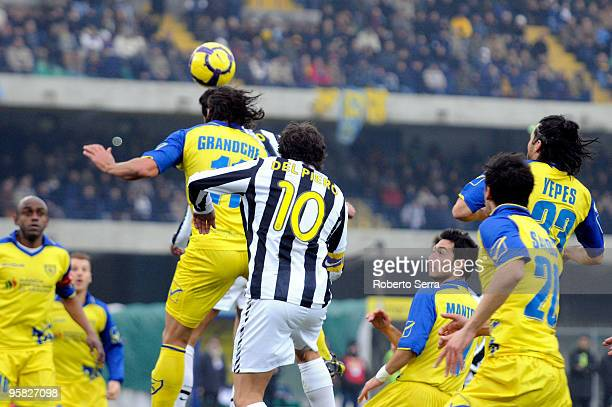 Pablo Granoche of Chievo competes the ball to Alex Del Piero of Juventus during the Serie A match between Chievo and Juventus at Stadio Marc'Antonio...
