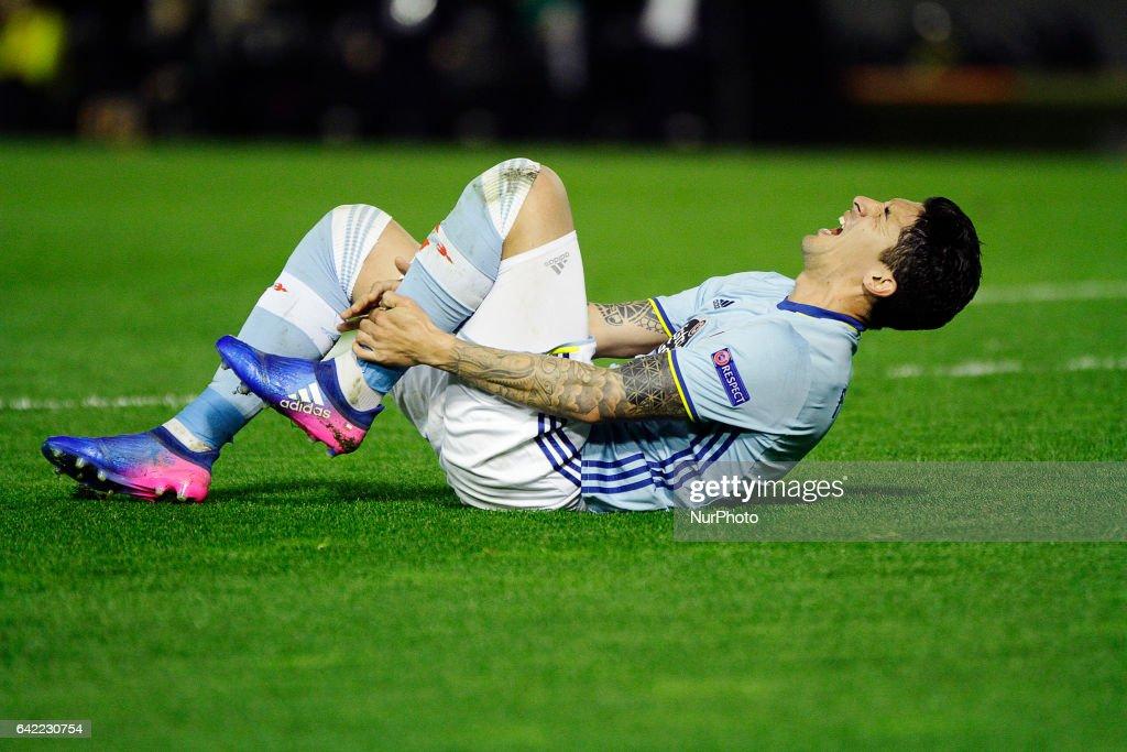 Pablo Hernandez midfielder of Celta de Vigo (8) reacts during the UEFA Europa League Round of 16 first leg match between Celta de Vigo and Shakhtar Donetsk at Balaidos Stadium on February 16, 2017 in Vigo, Spain.