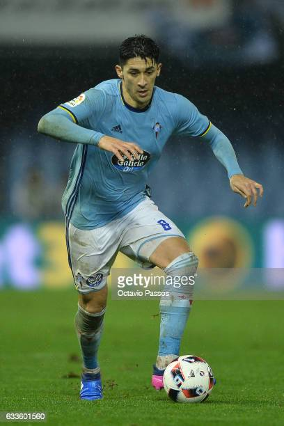 Pablo Hernandez of Celta de Vigo in action during the Copa del Rey semifinal first leg match between Real Club Celta de Vigo and Deportivo Alaves at...