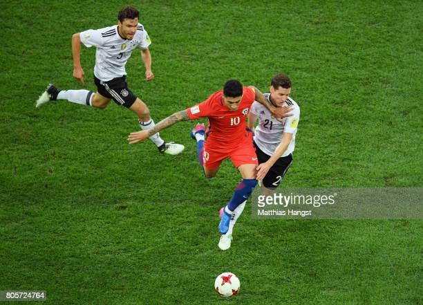 Pablo Hernandez of Chile and Sebastian Rudy of Germany battle for possession during the FIFA Confederations Cup Russia 2017 Final between Chile and...