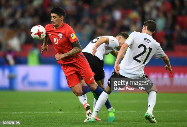 Pablo Hernandez of Chile and Sebastian Rudy of Germny battle for possession during the FIFA Confederations Cup Russia 2017 Group B match between...