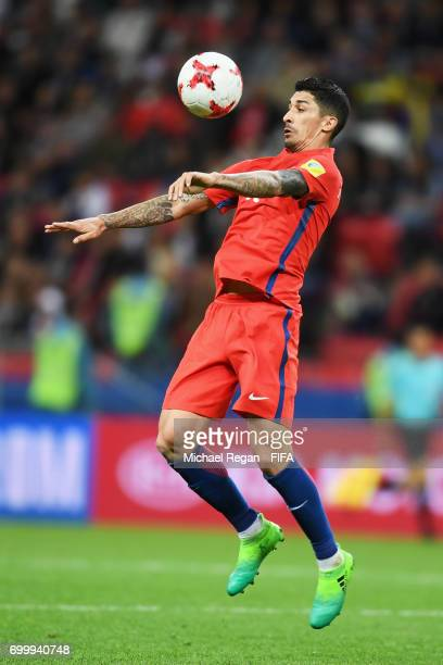 Pablo Hernandez of Chile controls the ball during the FIFA Confederations Cup Russia 2017 Group B match between Germany and Chile at Kazan Arena on...