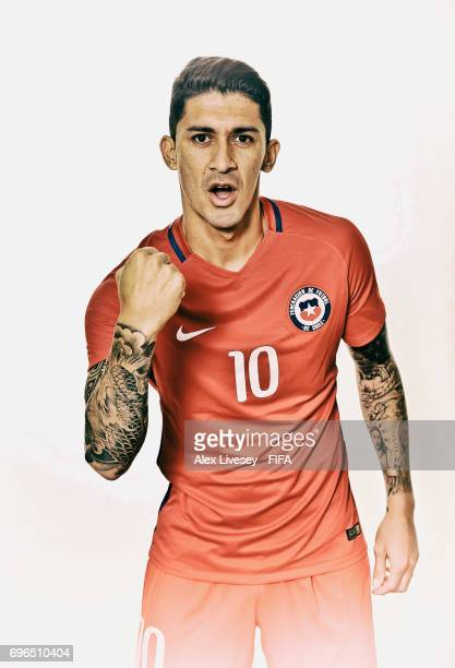 Pablo Hernandez of Chile during a portrait session ahead of the FIFA Confederations Cup Russia 2017 at the Crowne Plaza Hotel on June 15 2017 in...