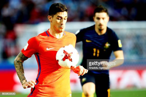 Pablo Hernandez of Chile in action during the FIFA Confederations Cup 2017 Group B soccer match between Chile and Australia at Spartak Stadium in...
