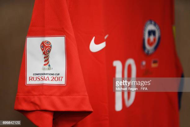 Pablo Hernandez of Chile shirt hangs in the changing room prior to the FIFA Confederations Cup Russia 2017 Group B match between Germany and Chile at...