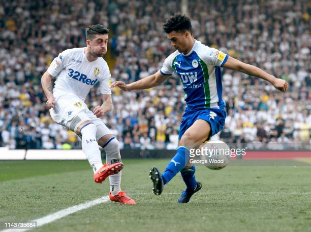 Pablo Hernandez of Leeds United and Antonee Robinson of Wigan Athletic compete for the ball during the Sky Bet Championship between Leeds United and...