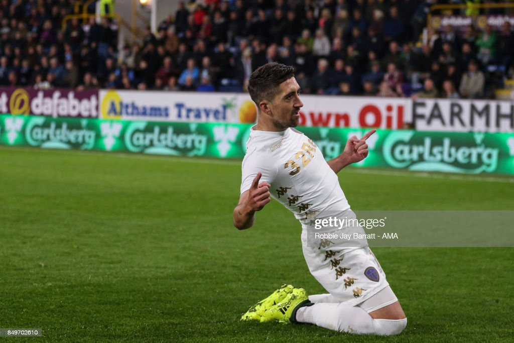 Pablo Hernandez of Leeds United celebrates after scoring a goal to make it 1-2 during the Carabao Cup Third Round match between Burnley and Leeds United at Turf Moor on September 19, 2017 in Burnley, England.