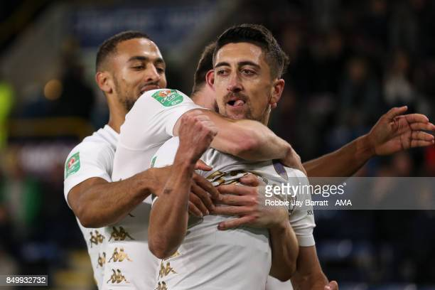 Pablo Hernandez of Leeds United celebrates after scoring a goal to make it 12 during the Carabao Cup Third Round match between Burnley and Leeds...