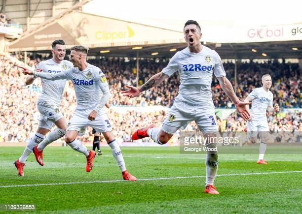 Pablo Hernandez of Leeds United celebrates after scoring his sides third goal to make score 32 during the Sky Bet Championship match between Leeds...