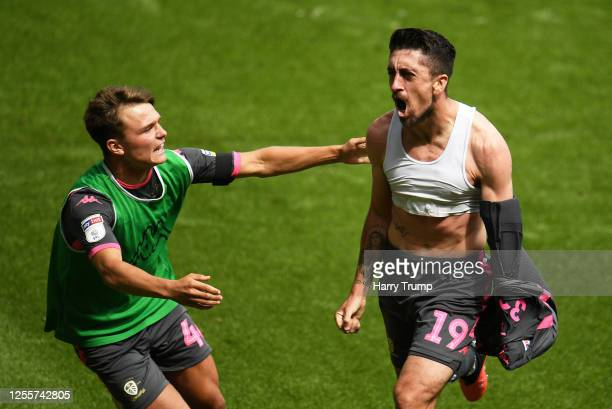 Pablo Hernandez of Leeds United celebrates his sides first goal during the Sky Bet Championship match between Swansea City and Leeds United at the...