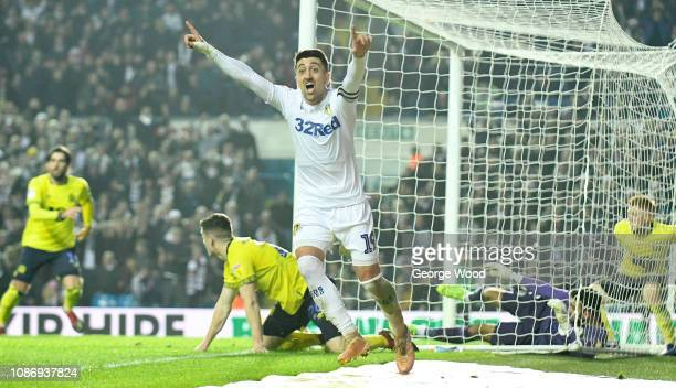 Pablo Hernandez of Leeds United celebrates the winning goal scored by Kemar Roofe during the Sky Bet Championship match between Leeds United and...