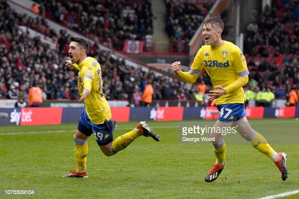 Pablo Hernandez of Leeds United celebrates with Jack Clarke after scoring the opening goal during the Sky Bet Championship match between Sheffield...