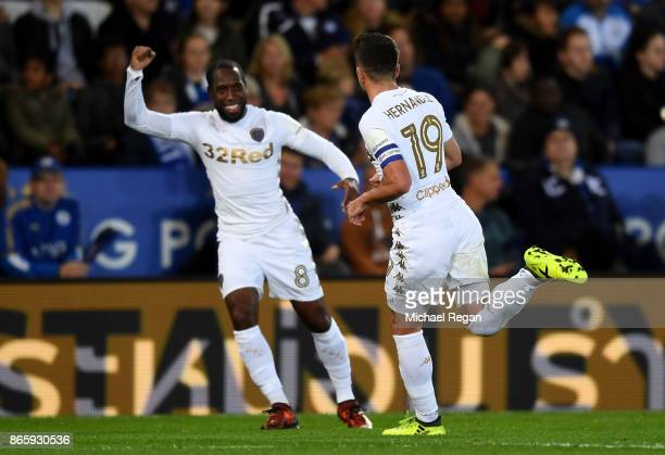 Pablo Hernandez of Leeds United celebrates with Vurnon Anita of Leeds United after scores his sides first goal during the Caraboa Cup Fourth Round...