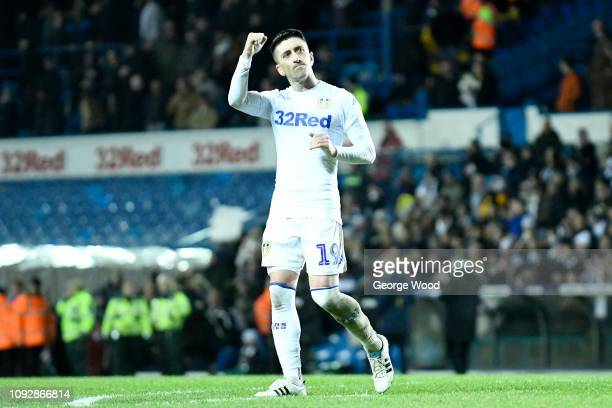 Pablo Hernandez of Leeds United salutes the fans followinf the Sky Bet Championship match between Leeds United and Derby County at Elland Road on...