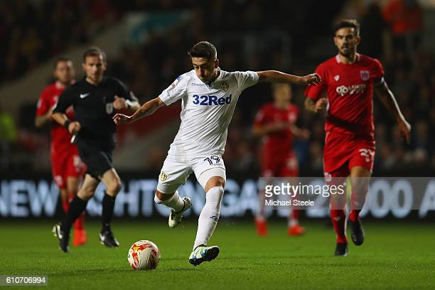 Pablo Hernandez of Leeds United shoots as Marlon Pack of Bristol City looks on during the Sky Bet Championship match between Bristol City and Leeds...