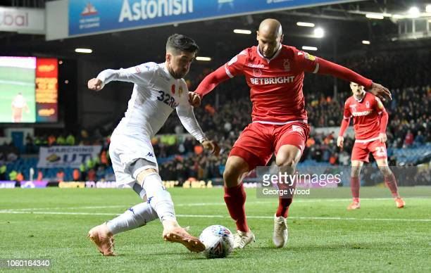 Pablo Hernandez of Leeds United takes on Adlene Guedioura of Nottingham Forest during the Sky Bet Championship between Leeds United and Nottingham...