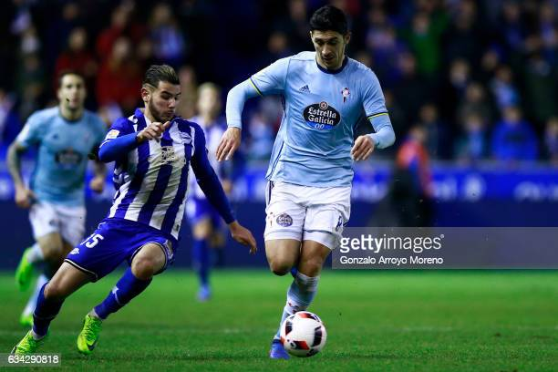 Pablo Hernandez of RC Celta de Vigo competes for the ball with Theo Hernandez of Deportivo Alaves during the Copa del Rey semifinal second leg match...