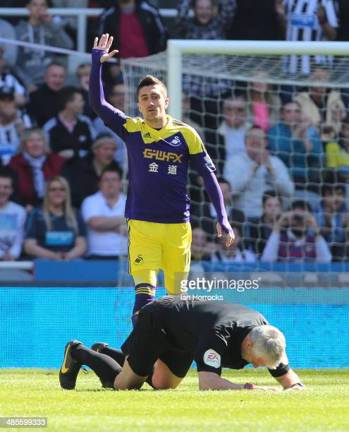 Pablo Hernandez of Swansea City asks for help for referee Chris Foy after the official was hit in the face by the ball during the Barclays Premier...