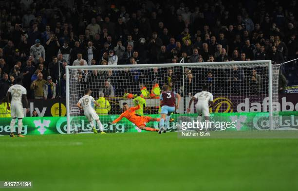 Pablo Hernández of Leeds scores a penalty during the Carabao Cup Third Round match between Burnley and Leeds United at Turf Moor on September 19...