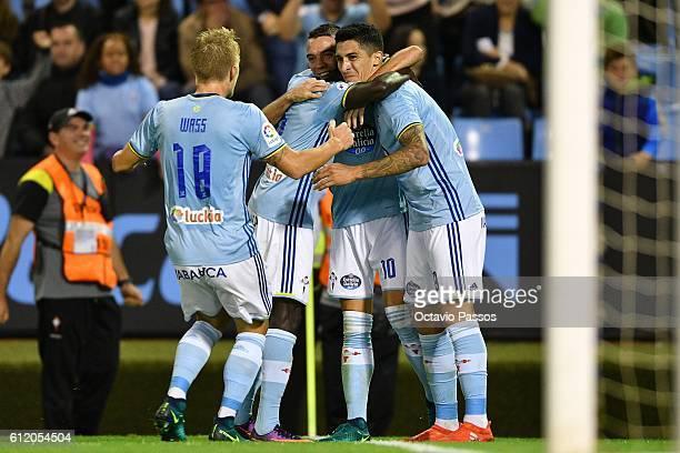 Pablo Hernández of RC Celta de Vigo celebrates after scoring a goal against FC Barcelona during the La Liga match between Real Club Celta de Vigo and...