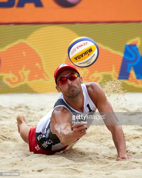 Pablo Herrera Allepuz of Spain in action during Day 9 of the FIVB Beach Volleyball World Championships 2017 on August 5 2017 in Vienna Austria