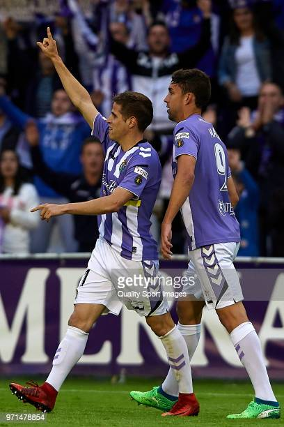 Pablo Hervias of Real Valladolid celebrates after scoring his team's second goal during the La Liga 123 play off match between Real Valladolid and...