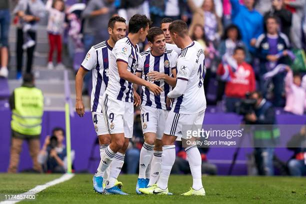 Pablo Hervias of Valladoid CF celebrates his first goal of the team during the Liga match between Real Valladolid CF and CA Osasuna at Jose Zorrilla...
