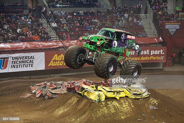 Pablo Huffaker driving Grave Digger during a Monster Jam event at Rose Garden arena in Portland, Ore.