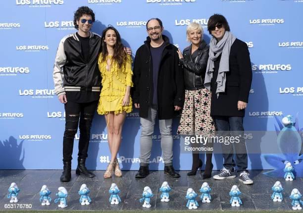Pablo Ibanez Macarena Garcia Jordi Sanchez Eva Hache and Luis Piedrahita attend a photocall for 'Smurfs The Lost Village' at Casa Club on March 14...