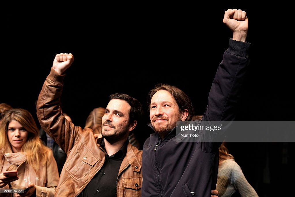 Pablo Iglesias and Alberto Garz��n Annunce their Confluence for Spanish General Election : News Photo
